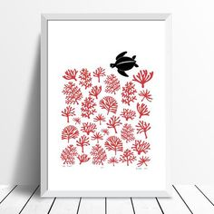 Sea Turtle Reef Small Screen Print in Aurora Red