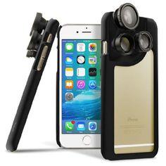 iPhone 6s Plus Case, OPTIKAL iPhone 6 Plus 4-in-1 Lens Duo Camera Case [Macro, Telephoto, Wide Angle, Fisheye] BLACK for iPhone 6s Plus and iPhone 6 Plus