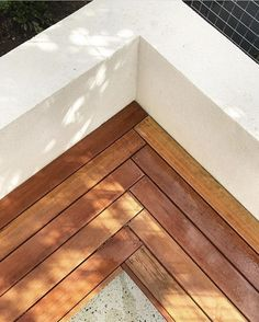 Deck seating – herringbone wood with white concrete back. it's all in the details Deck seating – herringbone wood with white concrete back. it's all in the details