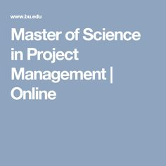 Master of Science in Project Management   Online