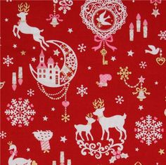red kawaii Christmas fabric Bambi bunny glitter Japan Christmas Editorial, Deer Fabric, Christmas Fabric, Vintage Christmas, Christmas Patterns, Cotton Lights, Kawaii Shop, Christmas Cookies, Christmas Holidays