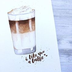 I like u a latte and I like a latte - right, now, here Coffee Puns, Coffee Quotes, Coffee Art, Iced Coffee, Coffee Ice Cream, Watercolor Lettering, Chocolate Sweets, Coffee Dessert, Coffee Cocktails