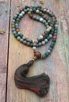 Beautiful frosted jasper gemstone mala necklace