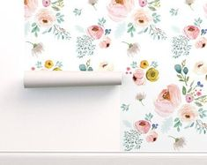 Adhesive wallpaper | Etsy Self Adhesive Wallpaper, Wallpaper Roll, Peel And Stick Wallpaper, Drawer And Shelf Liners, Pattern Names, Print And Cut, Floral Flowers, Girl Nursery, Color Inspiration