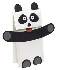 Make a paper bag Panda puppet with your language students. Template and pattern ready to download.