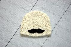 Baby boy hat little man outfit mustache beanie by emmascozyattic, $24.00