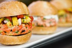 thai-sliders.. with salmon and mango red pepper salsa.. YUM