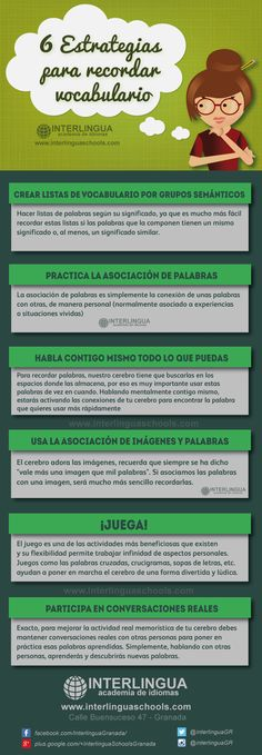 Aprende inglés: 6 estrategias para recordar vocabulario #INFOGRAFIA #EDUCATION