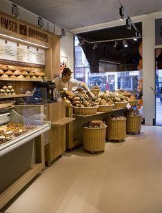 Haarlemmerstraat, Amsterdam. Bread Display, Cafe Shop Design, Sandwich Shops, Bakery Cafe, Restaurant Ideas, Retail Space, Cafe Interior, Layout Design, Coffee Shop