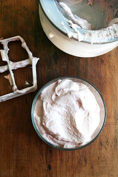 Rhubarb Ice Cream made with Jeni's ice cream base recipe and homemade rhubarb jam