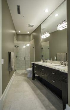 Lane Myers Construction Custom Home Builder Loeffler Residence Draper Utah Versailles Inspired Bathroom Glass Shower Doors Full Wall Mirror Black Cabinets