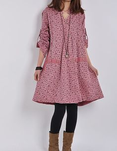 Light red cotton dress/ long sleeve dress casual loose dress/ V neck cotton shirt /large size coat cotton tops cotton blouse plus size dress
