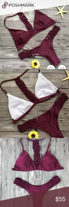 -LAST ONE- Purple braided strappy cheeky bikini Purple braided strappy Brazilian cheeky bikini. Size medium. Runs a little small. Fully lined. Removable pads. Marked acacia swim, but it's from a boutique. Absolutely beautiful!!! All photos are of the actual bikini! Fits B-D cups, size 25-28 waist.✨ RECEIVE A FREE CHOKER NECKLACE FT. IN THE LAST IMAGE WITH A FULL-PRICE PURCHASE OF THIS ITEM ✨ acacia swimwear Swim Bikinis
