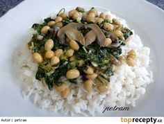 Sojové boby s listovým špenátem a žampiony Risotto, Grains, Bob, Ethnic Recipes, Bob Cuts, Seeds, Bob Sleigh, Korn, Bobs