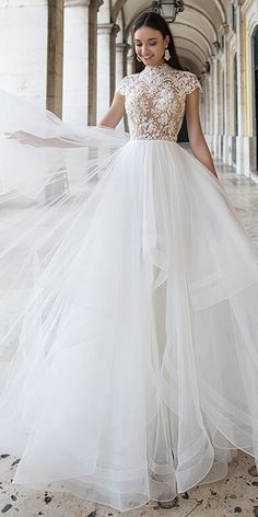 Marvelous Tulle Illusion High Collar A-line Wedding Dresses With Beaded Lace Appliques Elegant Ivory V-Neck Mermaid Soft Satin Wedding Dress Evening Gown With Long Train Western Wedding Dresses, Best Wedding Dresses, Bridal Dresses, Wedding Gowns, Bridesmaid Dresses, Tulle Wedding, High Neck Wedding Dresses, Boho Wedding, Wedding Ceremony