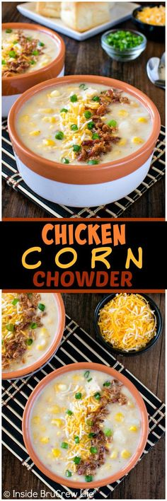 Chicken Corn Chowder - homemade chunky potato soup loaded with meat, cheese, and veggies. Perfect comfort food recipe for a cold day!