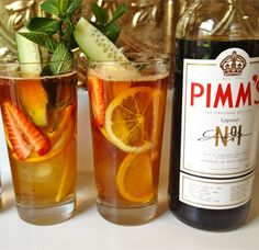 Zazu Kitchen + Farm: Tonight we are doing the classic Pimm's Cup. We are taking the original gin based Pimm's Cup adding fresh lemon, house made ginger beer, fresh berries and cucumber stalks. Pimms Recipe, Pimms O Clock, Strawberry Slice, Orange Slices, Apple Slices, Ginger Beer, Summer Cocktails, Brunch, Alcohol