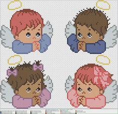 4 angelitos EN PUNTO DE CRUZ