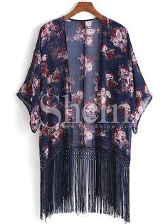 Kimono a fiori con frange azzurro 17.47