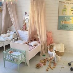 shared room..Pink and powder blue shabby chic girl's bedroom
