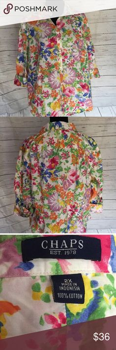 EUC Chaps 2X floral button down 3/4 sleeve top Perfect too for a romantic spring!!!  Excellent quality and beautiful fabric;   This top features a slimming cut and flattering seams.  Check out the Rose shaped buttons!   Wonderful top! Chaps Ralph Lauren Tops Button Down Shirts
