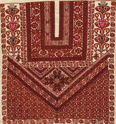 qabah, kabbah, top of thobe, thobe design. Cross Stitch Borders, Cross Stitch Designs, Cross Stitching, Cross Stitch Embroidery, Embroidery Patterns, Cross Stitch Patterns, Palestine, Palestinian Embroidery, Textures Patterns