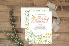 """Sugar & Spice and Everything Nice! That's what these sweet little floral shower invitations are made of! Available printed+shipped or as a DIY printable, these 5x7"""" invitations are sure to be a hit! www.etsy.com/shop/junearbordesigns #babyshower #babygirl #babyshowerinvitation #DIYbabyshower #DIYinvitations #floralbabyshower #floralinvitations #watercolorfloral #watercolorinvitation #babygirlshower #babyshowerideas #etsy #etsyinvitations #expecting #preggo #newbaby #girlshower"""