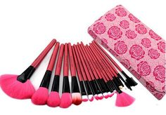 Professional 18 Piece Pink Rose Cosmetic Brush Set