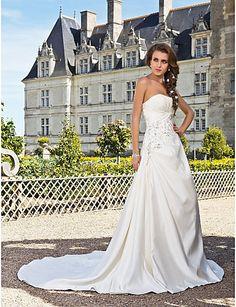Satin wedding dress strapless.