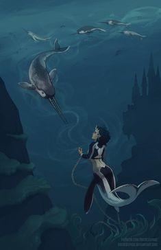 Pin by parker beck on waters of the merfolk in 2019 Mermaid Man, Siren Mermaid, Mermaid Cove, Fantasy Creatures, Mythical Creatures, Sea Creatures, Fantasy Mermaids, Mermaids And Mermen, Cosplay Steampunk