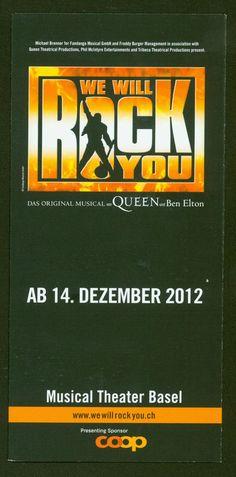 QUEEN - WE WILL ROCK YOU - MUSICAL 2012 BASEL SWITZERLAND ORIG. FLYER