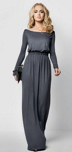 Celltronic Women s Boat Neck Long Sleeve Long Maxi Dress Women s Maxi  Dresses e2c9e317c641