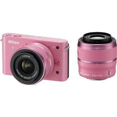 Nikon 1 J1 10.1Megapixel Digital Camera with 1030mm30110mm Lens Kit Pink 1 J1 Pink - Best Buy. So cute and it'd be great for my scrap booking!