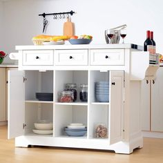 100  Farmhouse Bar Carts and Rustic Kitchen Carts for your Farmhouse Style Kitchen. We absolutely love farmhouse kitchen island carts and rustic bar carts because they are beautiful and functional. Rolling Kitchen Island, Kitchen Island On Wheels, Kitchen Island Table, Farmhouse Kitchen Island, Modern Kitchen Island, Kitchen Tops, Rustic Kitchen, New Kitchen, White Farmhouse