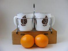 Anchor Hocking Mugs 4 Fire King Mug Set w/ caddy -Etsy, by TinsAndThings, $45.00