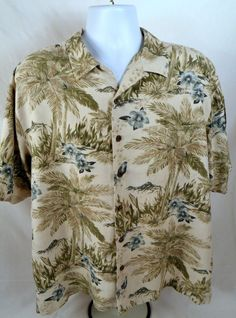 1976e56ee Island Republic Blue Floral Men's 100% Silk Short Sleeve Hawaiian Shirt XL  | eBay