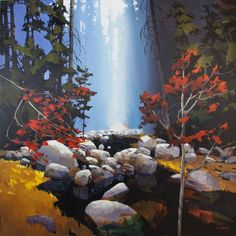 Michael O'Toole Artwork in Canada House Gallery Watercolor Portraits, Watercolor Art, Lynn Canyon, Waterfall Paintings, Paintings I Love, Acrylic Paintings, Artwork Display, Tree Art, Landscape Paintings