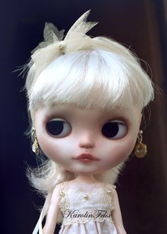 ooak custom Blythe doll with her own dollhouse diorama shadowbox. art doll by KarolinFelix. €1,450.00, via Etsy.