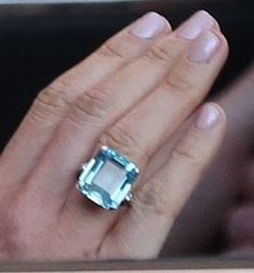 Princess Diana's Emerald Cut Aquamarine Ring