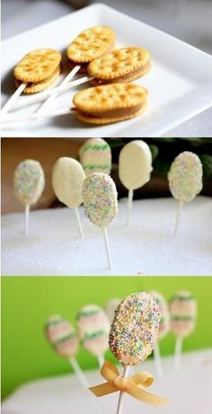 Easy Easter Cookie Pops: Buttery Crackers (like Ritz) Peanut Butter White Chocolate for Dipping Lollipop Sticks Styrofoam board.maybe try hazelnut spread instead of peanut butter. Easter Cookies, Easter Treats, Easter Food, Easter Stuff, Easter Party, Easter Decor, Holiday Treats, Holiday Recipes, Yummy Treats