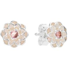 Pandora Earrings - Sterling Silver, Crystal & Enamel Blooming Dahlia... ($50) ❤ liked on Polyvore featuring jewelry, earrings, pink, pink earrings, crystal jewellery, sterling silver crystal earrings, crystal jewelry and pandora jewellery
