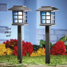 4 pc mini fence line pathway accent lighting lights lawn garden yard solar pathway garden light stakes set of 2 aloadofball Image collections