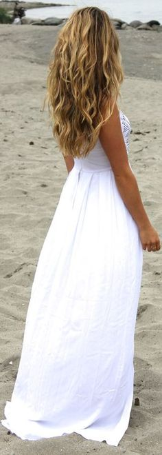 Bebe White Double Split Embroidery Accent Fit And Flare Maxi Dress by A Fashion Love Affair