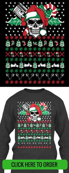 c61c9151e2881f Deck the halls with skulls and pistons with this Ugly Christmas T-shirt for  Bikers