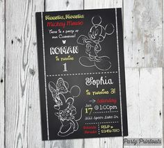 Items similar to Mickey Minnie Mouse Birthday Invitation: Printable Chalkboard Style Party Invitation Star Wars Invitations, Girls Party Invitations, Minnie Mouse Birthday Invitations, Print Your Own Invitations, Mickey Minnie Mouse, Printable Invitations, Combined Birthday Parties, Boy Birthday Parties, 3rd Birthday