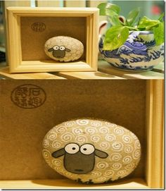 A rock sheep. Well, we know Big Horn Sheep climb on rocks but here's a sheep MADE from a rock. Pebble Painting, Pebble Art, Stone Painting, Pebble Stone, Painting Art, Stone Crafts, Rock Crafts, Arts And Crafts, Diy Crafts