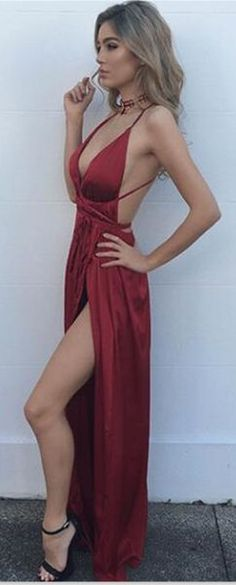Evening Dresses, Prom Dresses,Party Dresses,New Arrival Prom Dress,Modest Prom Dress,Sexy Burgundy Maxi dress,v neck evening dress,long formal dress,backless prom dress,slit side dresses