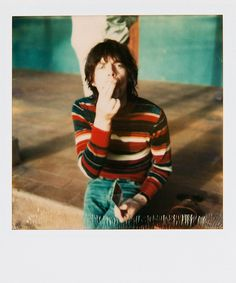 Polaroids of Mick Jagger taken by Andy Warhol, 1975.