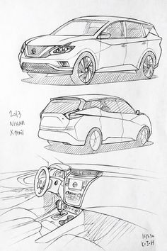 Car drawing 151230.  2013 Nissan Xtrail.   Prisma on paper.  Kim.J.H