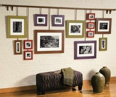 Create your own hanging photo gallery using a curtain rod and simple wood frames you can stain different colors. Shown: Minwax® Water Based Wood Stains in China Red, Botanical, Toffee and Royal Mahogany Furniture Makeover, Cool Furniture, Deco Dyi, Water Based Wood Stain, Woodworking Inspiration, Room Decor, Wall Decor, Hanging Pictures, Interior Design
